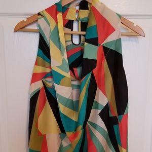 Worthington geometric sleveless shirt cowl neck